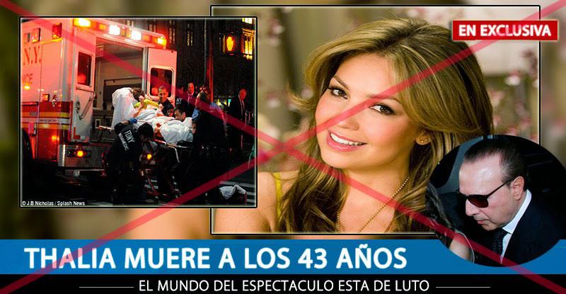 Otra figura pública que se anunció por fallecida en las redes sociales  fue la actriz y cantante Thalía. (Tomada de www.necocheatotal.com)