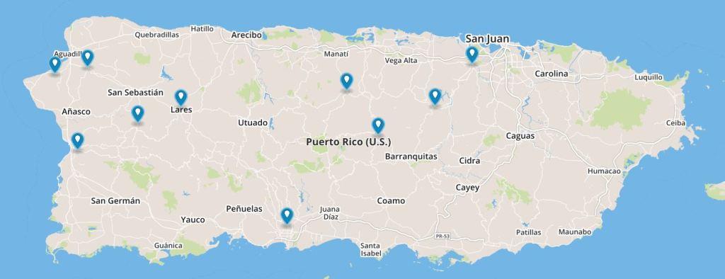 La producción del cacao se concentra en los pueblos de Aguada, Mayagüez, Moca, Bayamón, Las Marías, Naranjito, Ciales, Lares, Orocovis y Ponce. (Tomado de Map Box)