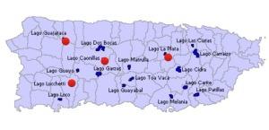 Los lagos pintados de rojo se practica la pesca recreativo. Estos son: Lucchetti, Guajataca y Caonillas.