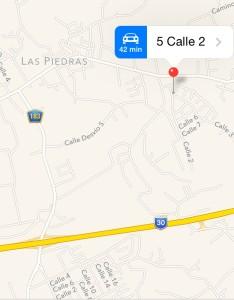 El huerto Fresas y Uvas Rose de Las Piedras radica en el barrio Collores. Tomado de Google Maps.