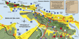 Mapa de inundación y desalojo en el municipio de San Juan. Archivo de Red Sísmica de Puerto Rico.