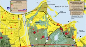Mapa de inundación del municipio de Cataño, Puerto Rico. Archivo de la Red Sísmica de Puerto Rico.