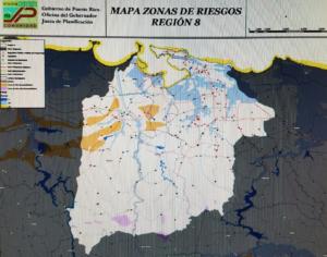 Mapa actualizado en el 2011. Muestra la zona inundable del área metropolitana. Foto suministrada por Junta de Protección .